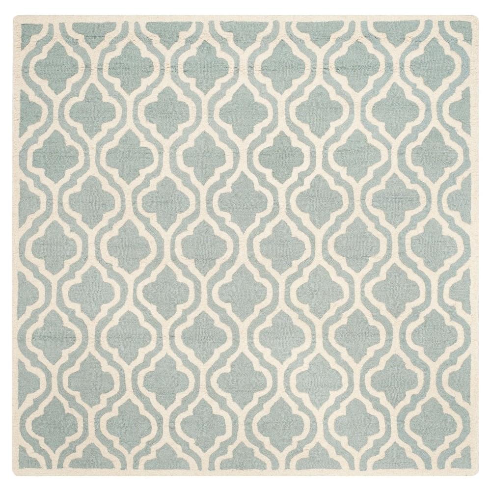 Gianna Texture Wool Rug - Spa / Ivory (6' X 6' Square) - Safavieh, Spa/Ivory