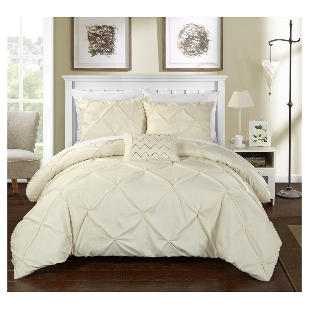 Whitley Pinch Pleated & Ruffled Duvet Cover Set 8 Piece (Queen) Beige - Chic Home Design