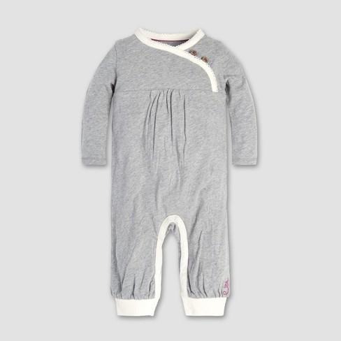 Burt's Bees Baby® Baby Girls' Wrap Front Coverall - Heather Gray - image 1 of 2