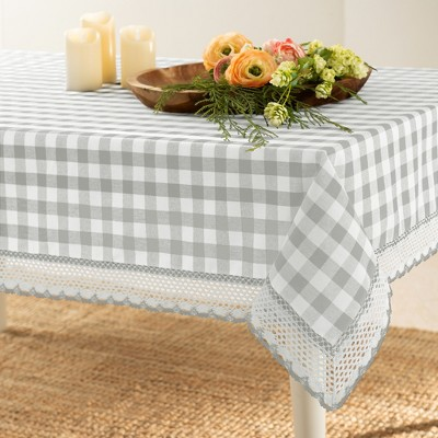 Kate Aurora Country Farmhouse Plaid Buffalo Check Stain & Spill Proof Fabric Tablecloths