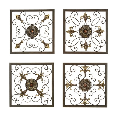 "(Set of 4) 16"" x 16"" Square Scrollwork Metal Wall Art Wall Plaques with Gold Finishes - Olivia & May"