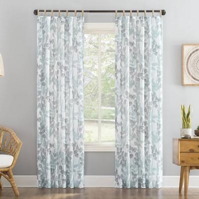 Mori Botanical Jute Tab Top Sheer Curtain Panel - No. 918