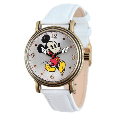 Women's Disney Mickey Mouse Antique Vintage Articulating Watch with Alloy Case - White