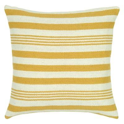 Yellow Woven Wool Pattern Throw Pillow Stripes Motif (18 x18 )- Rizzy Home