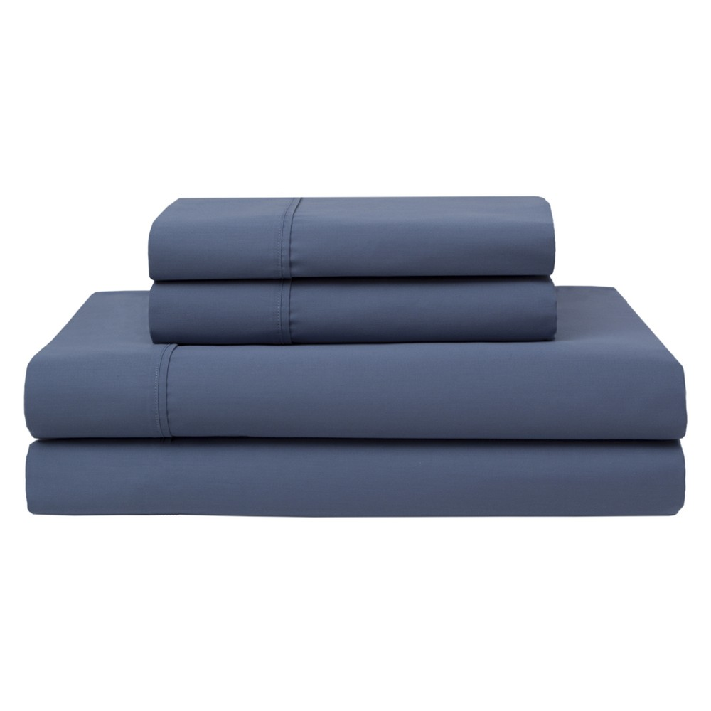 Wrinkle Free 420 Thread Count Cotton Sheet Set (California King) Denim (Blue) - Elite Home Products