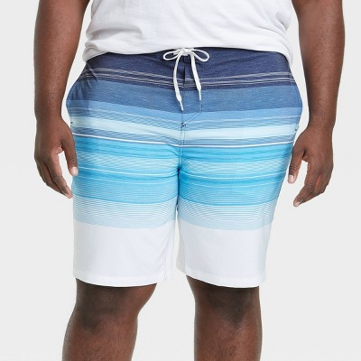 "Men's Big & Tall 10"" Striped Board Shorts - Goodfellow & Co™ Atlantic Blue"