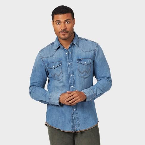 Wrangler Men's Button-Down Work Shirt - Denim Blue - image 1 of 3