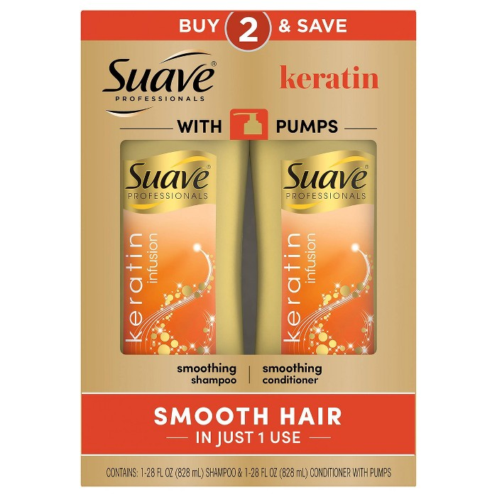 Suave Professionals Keratin Infusion Smoothing Shampoo & Conditioner With Pumps - 2pk/28 Fl Oz Each : Target