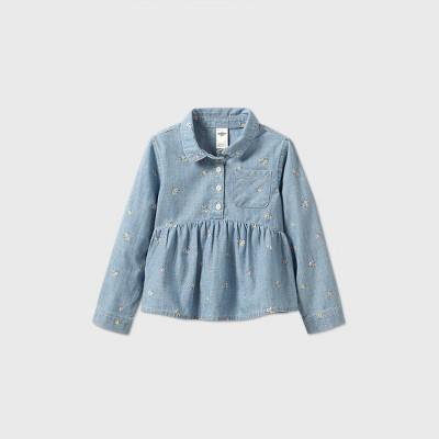 OshKosh B'gosh Toddler Girls' Floral Long Sleeve Blouse - Blue 12M