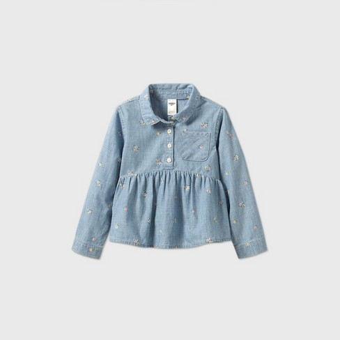 OshKosh B'gosh Toddler Girls' Floral Long Sleeve Blouse - Blue - image 1 of 2
