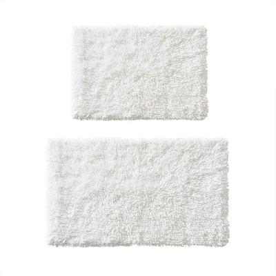 2pc Clout Organic Cotton Bath Rug Set White