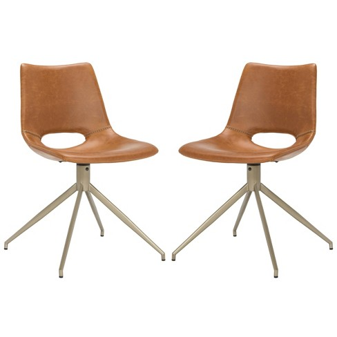 Set Of 2 Danube Midcentury Modern Leather Swivel Dining Chair Safavieh Target