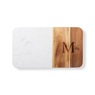 """14"""" x 8"""" Marble and Acacia Monogrammed Cheese Board M - Cathy's Concepts"""