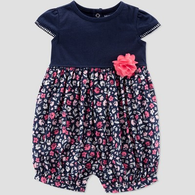 Baby Girls' Floral Romper - Just One You® made by carter's Navy/Pink 6M