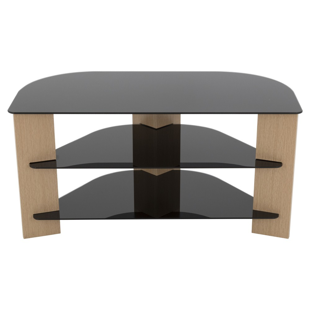 "Image of ""42"""" TV Stand with Glass Shelves - Oak/Black, Brown"""