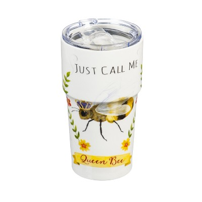 Cypress Home Double Wall Ceramic Companion Cup with Tritan Lid, 13 OZ, Queen Bee