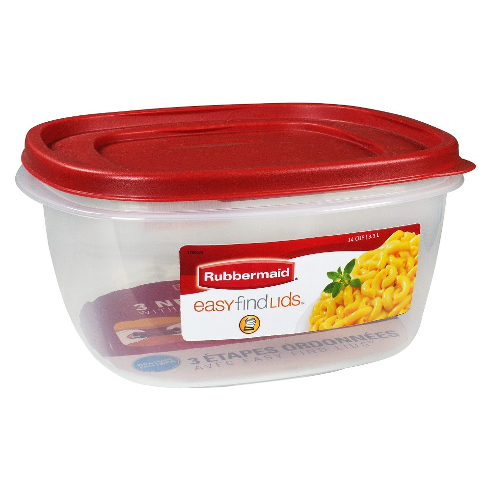 Image of Rubbermaid 14 Cup Food Storage Container with Easy Find Lid, Size: 14cup, Red Clear