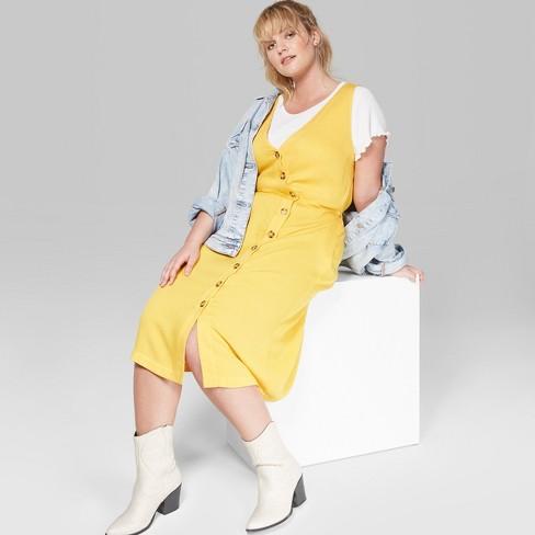 Women\'s Plus Size Sleeveless Button Front Midi Dress - Wild Fable ...