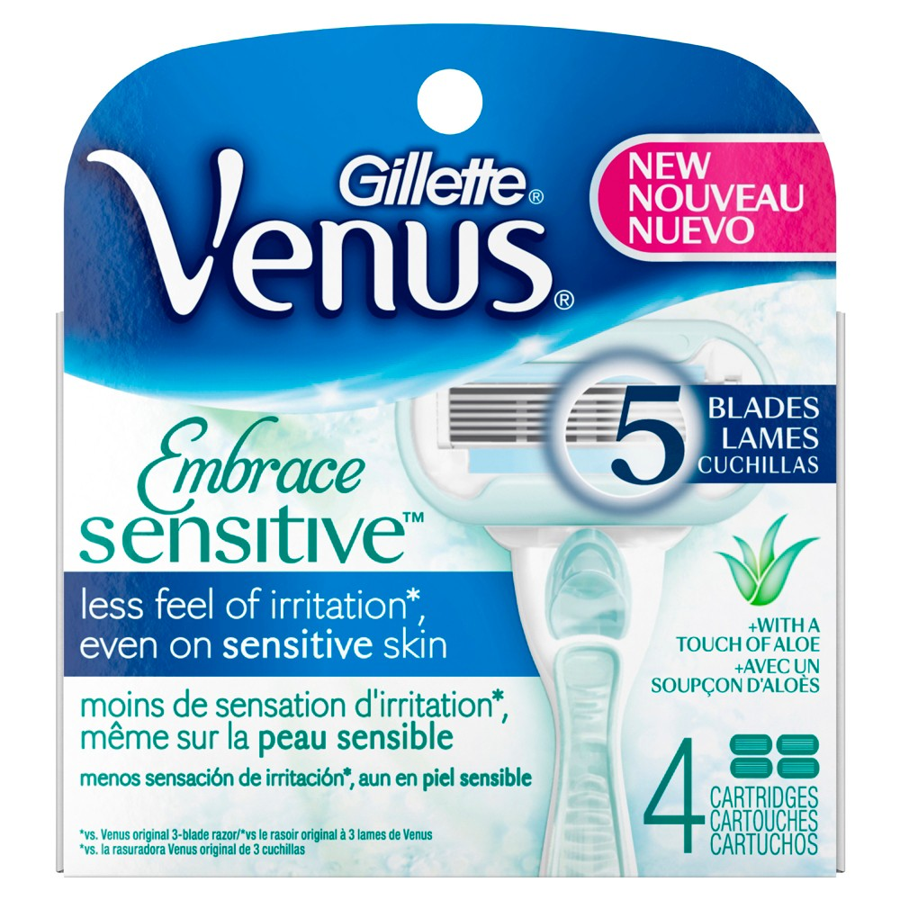 Venus Embrace Sensitive Women's Razor Blade Refills - 4ct