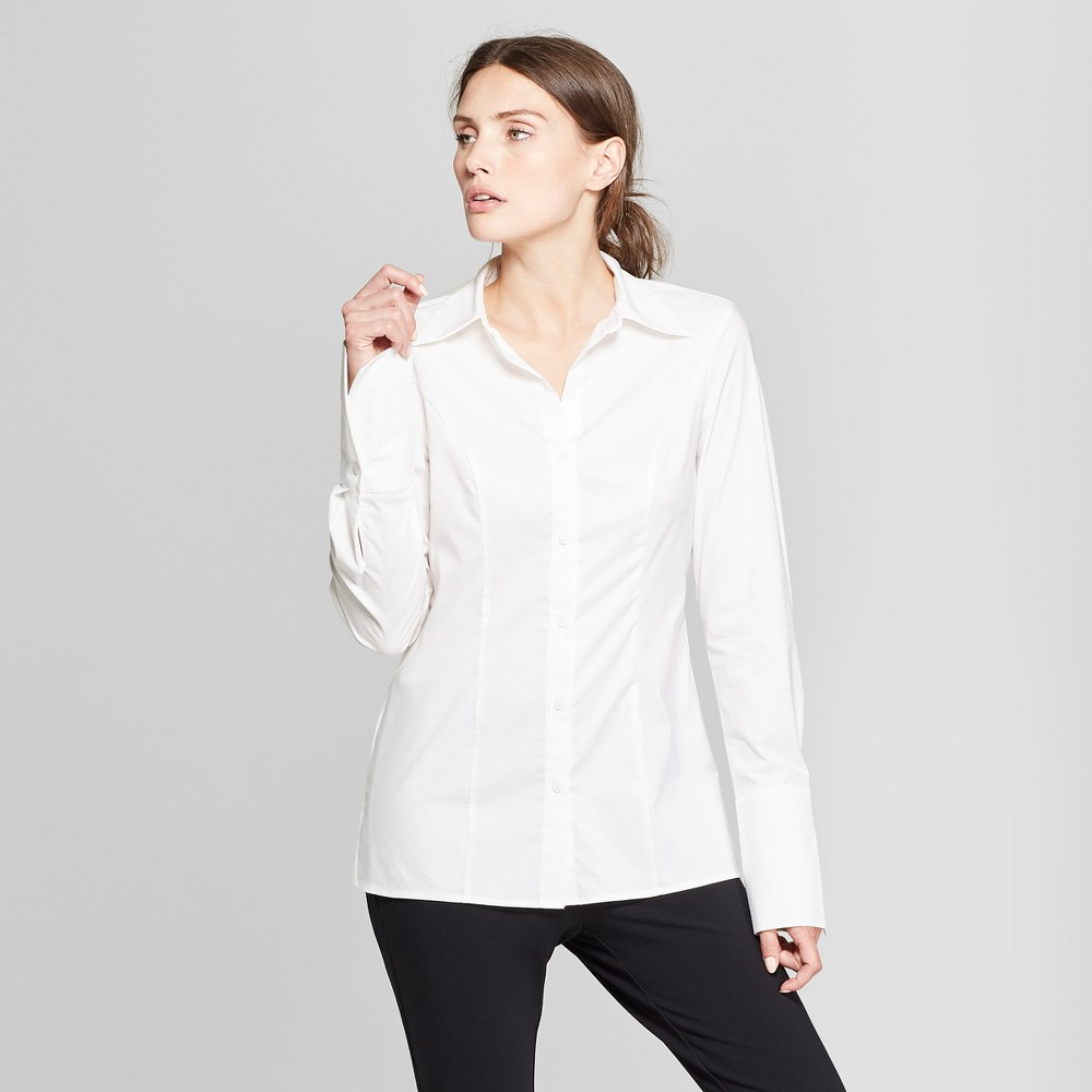 Women's Long Sleeve Fitted Button-Down Collared Shirt - Prologue White L