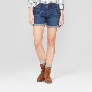 Women's Mid-Rise Rolled Hem Boyfriend Jean Shorts - Universal Thread™ Dark Wash 10