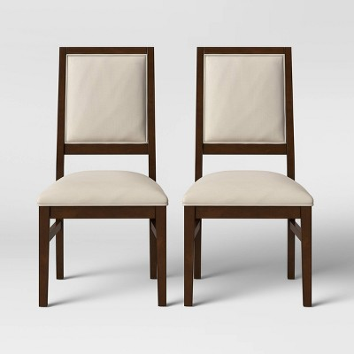 2pk Damestown Square Back Wood & Upholstered Dining Chair Natural - Threshold™