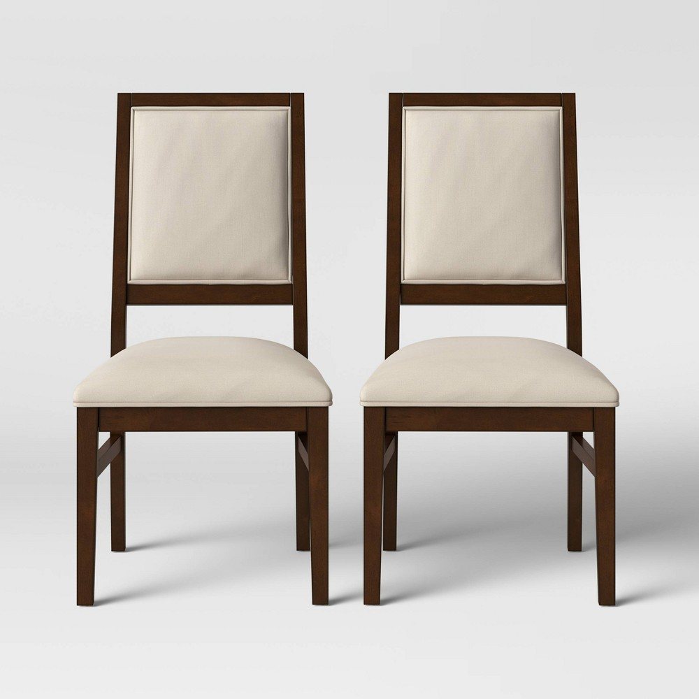 2pk Damestown Square Back Wood & Upholstered Dining Chair Natural - Threshold