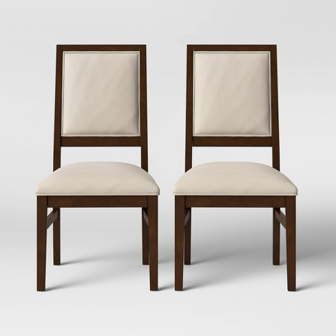 2pk Damestown Square Back Wood & Upholstered Dining Chair Natural - Threshold™ - image 1 of 4