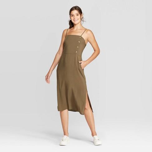 Women's Sleeveless Square Neck Side Button Midi Dress - Xhilaration™ Olive - image 1 of 2