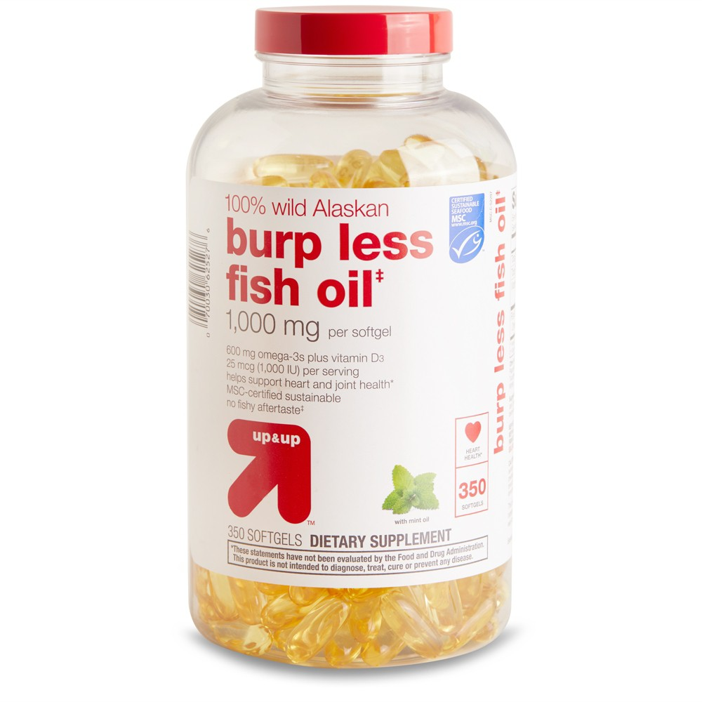 100% Wild Alaskan Burp Less Fish Oil Dietary Supplement Softgels - 350ct - Up&Up