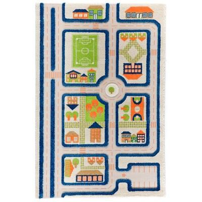IVI 3D Play Carpets 121MD033MA10153 59 x 39 Inch Traffic Educational Toddler Mat Rug for Bedroom, Kids Den, or Playroom, Medium