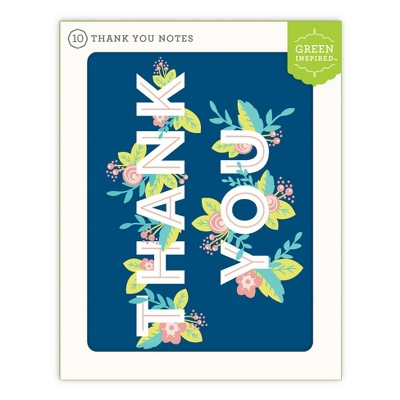 Green Inspired 10ct Hidden Flowers Thank You Cards