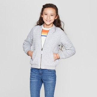 Girls' Quilted Bomber Jacket - Cat & Jack™ Heather Gray M