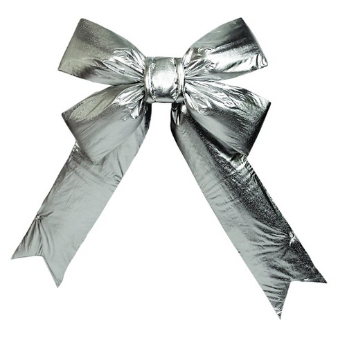 "18"" Christmas Decorative Bow Silver - image 1 of 1"