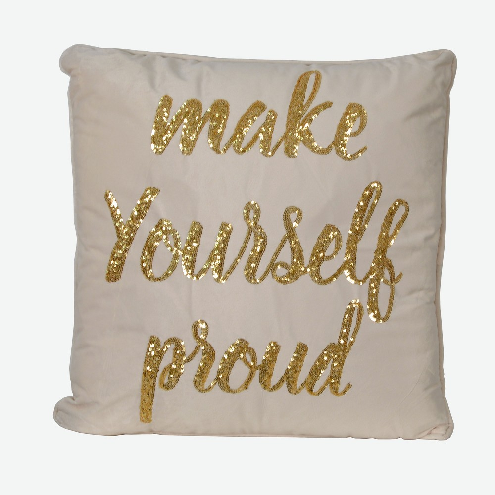 Image of Proud Script Oversize Square Throw Pillow Ivory - Décor Therapy