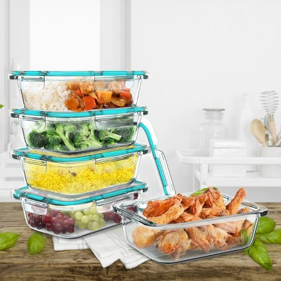 Hastings Home Glass Food Storage Containers With Snap Shut Lids - Clear, 10-pc