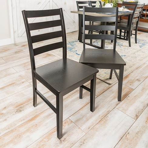 Astounding Wood Ladder Back Dining Chair Set Of 2 Black Saracina Home Beutiful Home Inspiration Cosmmahrainfo