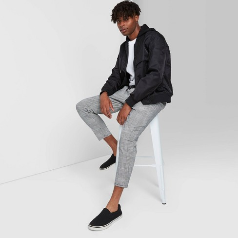 Men's Taper Plaid Jogger Pants - Original Use™ Black/White - image 1 of 3