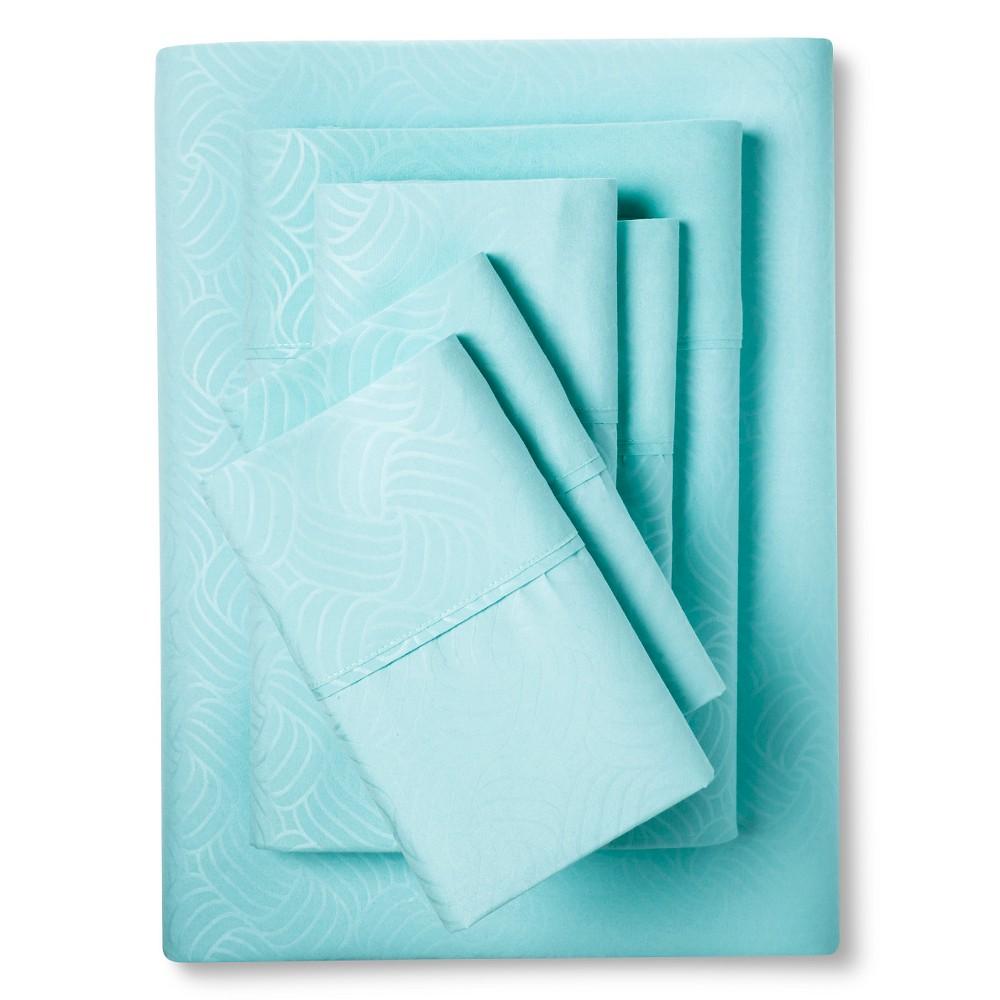 Image of Christopher Knight Home Natalia Cavalletto Swirl Design Sheet Set - Aqua (Blue) (King)