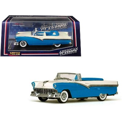 1956 Ford Fairlane Open Convertible Peacock Blue and Colonial White 1/43 Diecast Model Car by Vitesse