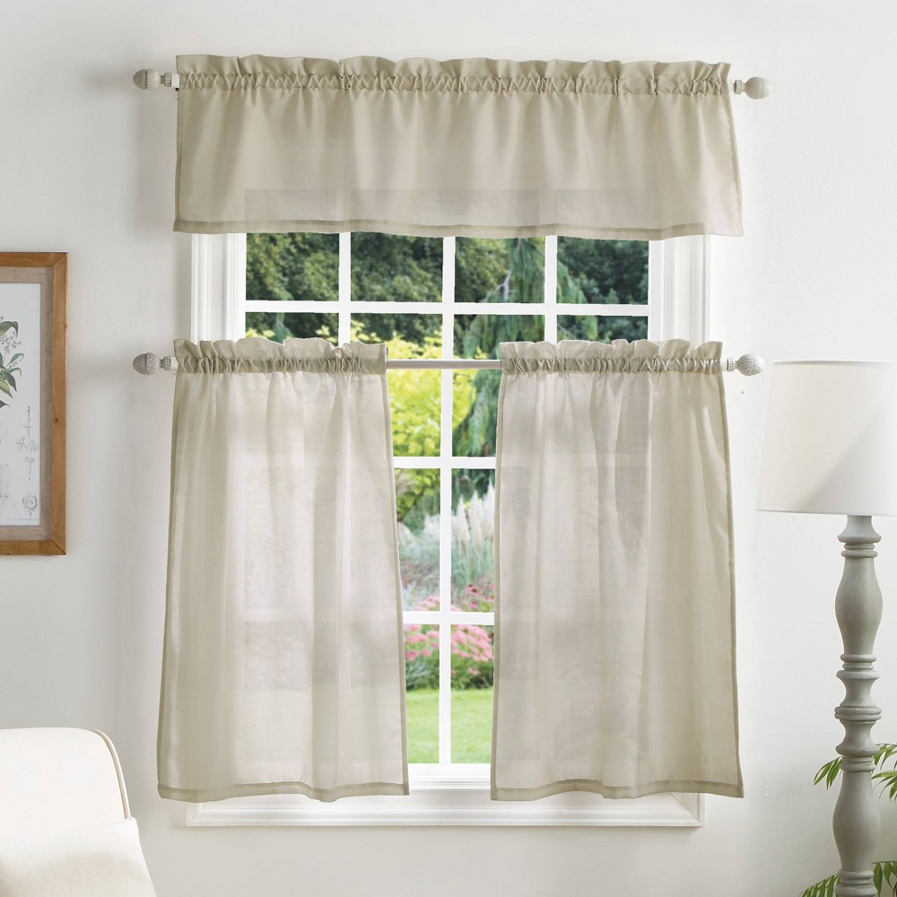 "Image of ""36""""x56"""" Bedford Woven Plaid Sheer Valence and Curtain Set Off White - Martha Stewart"""