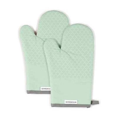 KitchenAid 2pk Cotton Asteroid Oven Mitts Light Green