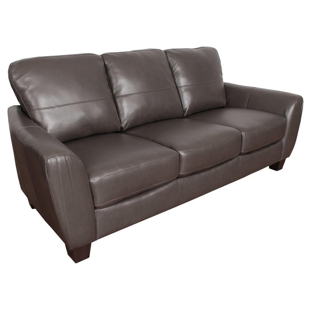 Jazz Brownish - Grey Bonded Leather Sofa - Corliving, Gray