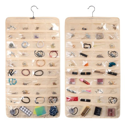Zodaca Hanging Jewelry Organizer with 80 Pockets, Closet Accessory Storage Holder for Earrings, Rings, Necklace, Beige