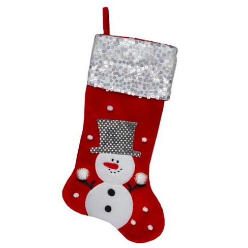 Northlight 20 5 Red And White Snowman Embroidered Christmas Stocking With Sequined Cuff Target