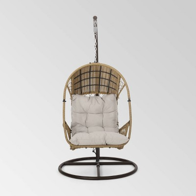 Malia Outdoor Wicker Hanging Chair with Stand - Christopher Knight Home