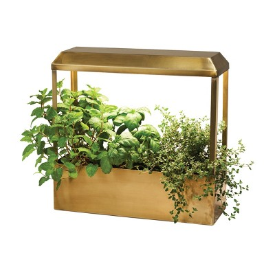 Modern Sprout Brass Growhouse V2 - Smart Indoor Planter with Grow Light