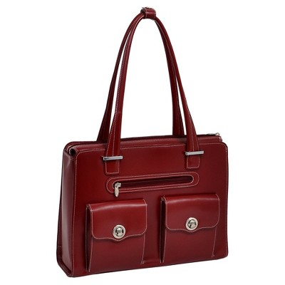 "McKlein Verona 15"" Leather Fly-Through Checkpoint-Friendly Ladies' Laptop Handbag - Red"