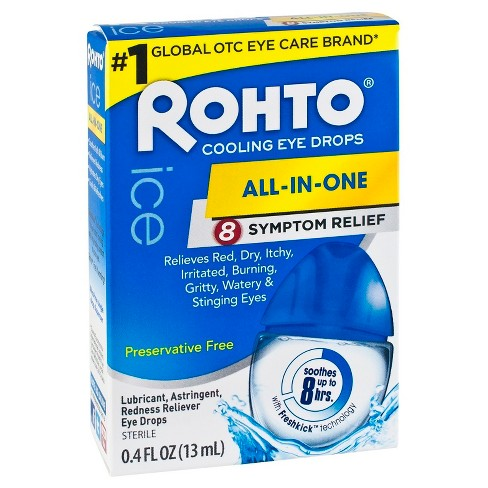 Rohto Ice All-In-One Symptom Relief Cooling Eye Drops - .4 fl oz - image 1 of 4
