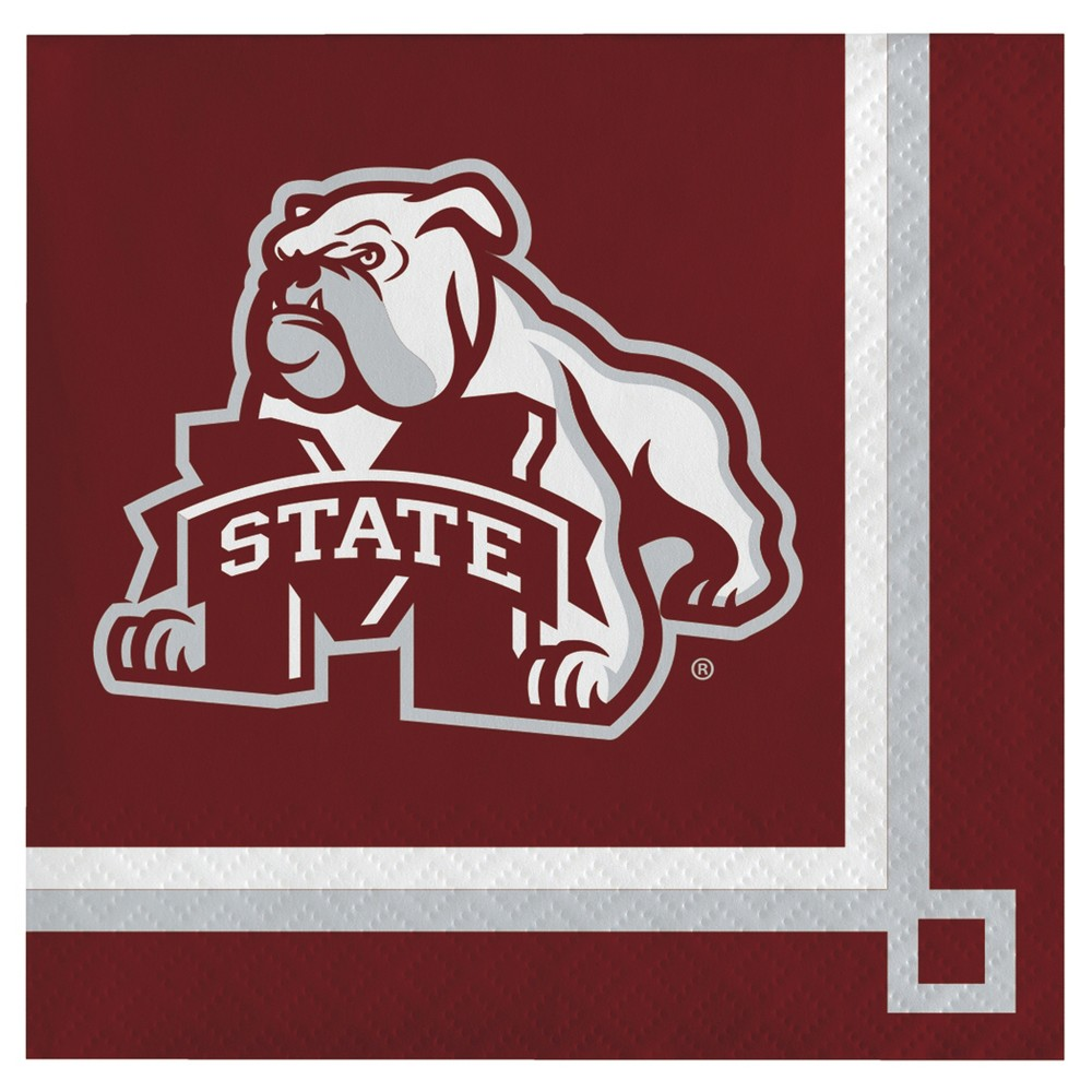 Image of 20ct Mississippi State Bulldogs University Cocktail Beverage Napkins